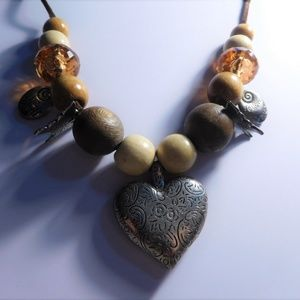 Jewelry - Leather Corded Wooden Beaded Heart Necklace